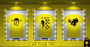 ΚΙΤΡΙΝΟ TShirt AEK με λογότυπο αθλήματος πίσω
